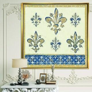 Designart 'Fleur de Lis Gold Pattern' Ornate Glam Framed Canvas - Blue