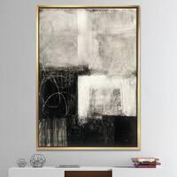 Designart 'A Geometric Day II' Mid-Century Modern Framed Canvas - Grey/Black