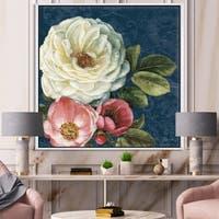 Designart 'White and Pink Damask Rose Flowers' Farmhouse Framed Canvas - White