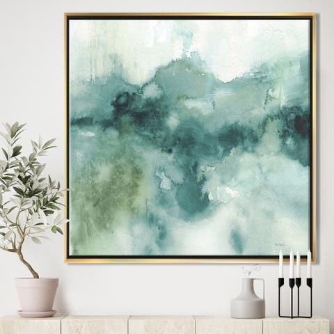 Designart 'Lost into the Blue' Abstract Framed Canvas - Blue/Green