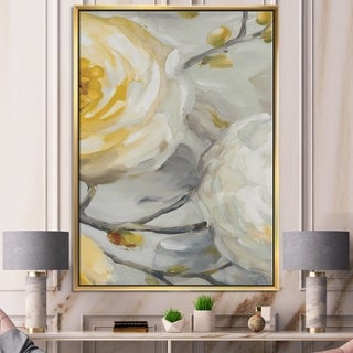 Designart 'Sunshine Yellow Flower II' Floral Framed Canvas - Grey/Orange