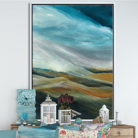Designart 'Watercolor Desert Storm Abstract Blue' Cottage Framed Canvas - Blue/Brown
