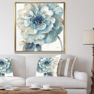 Designart 'Indigold Gold Country FLower' Cottage Country Framed Canvas - Blue