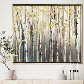 Designart 'Golden Birch Forest I' Landscapes Framed Canvas - Grey