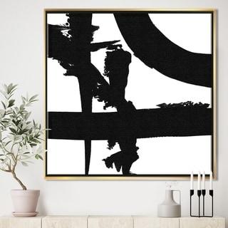 Designart 'Black & White Crossing Paths I' Modern & Contemporary Framed Canvas - Black