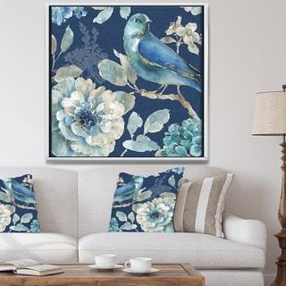 Designart 'Indigold Bird Cottage Family III' Farmhouse Framed Canvas - Blue