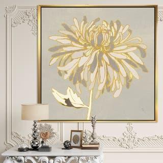 Designart 'Gold Metallic Floral Garden I' Modern Glam Framed Canvas - Grey