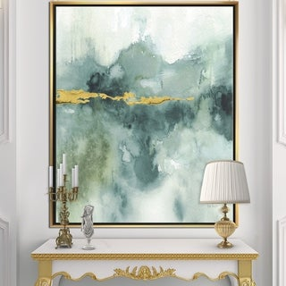 Designart 'Blue Watercolor Impression with Gold' Traditional Framed Canvas - Blue/Green