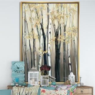 Designart 'Golden Birch Forest III' Farmhouse Framed Canvas - Grey