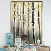 Designart 'Golden Birch Forest IV' cabin & Lodge Framed Canvas - Grey