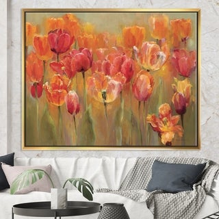 Designart 'Red Tulips' Traditional Framed Canvas - Orange/Red