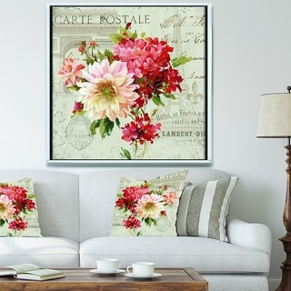 Designart 'Red Painted Flowers on Vintage Postcard III' Farmhouse Framed Canvas - Pink/Red