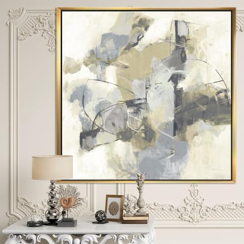 Designart 'Glam Cream Dream III' Modern & Contemporary Framed Canvas - Grey