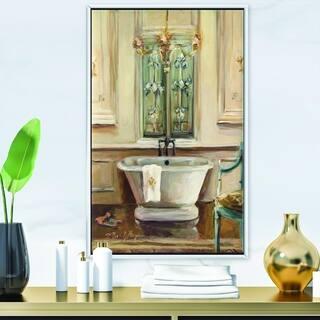 Designart 'Vintage Paris Bathtub Painting ' Traditional Bathroom Framed Canvas - Blue