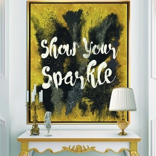 Designart 'Show Your Sparkle Quote Black on Gold' Fashion Framed Canvas - Multi-color