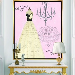 Designart 'French chandeliers Couture II' Fashion Framed Canvas - Pink