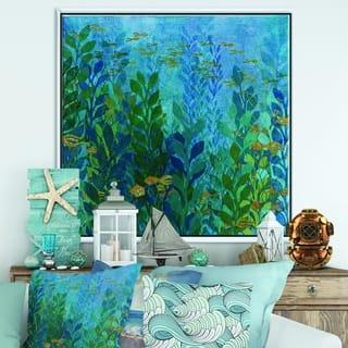 Designart 'Blue Underwater Lake leaves II' Nautical & Coastal Framed Canvas - Blue/Green