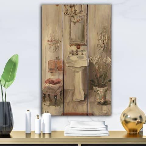 Designart 'French Bath La baignoire I' Traditional Bathroom Print on Natural Pine Wood - Grey/Brown