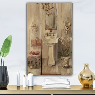 Designart 'French Bath La baignoire I' Traditional Bathroom Print on Natural Pine Wood - Grey/Brown