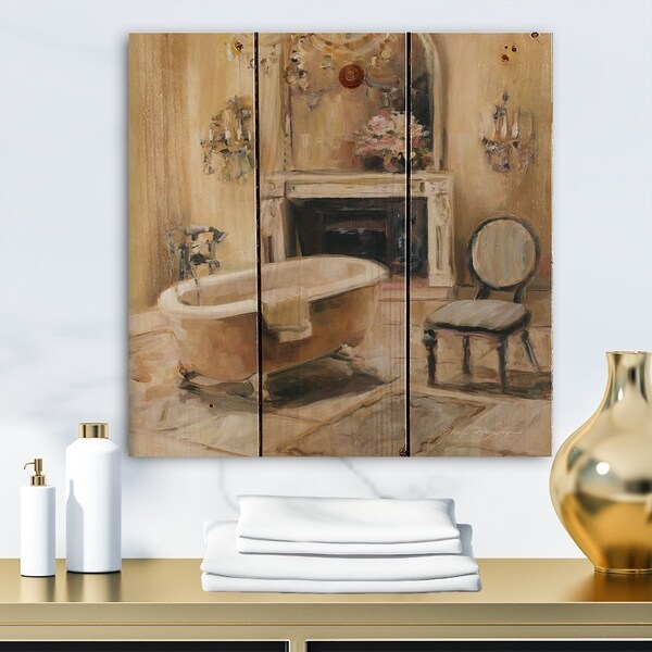 Designart 'French Bath I' Traditional Bathroom Print on Natural Pine Wood - Brown