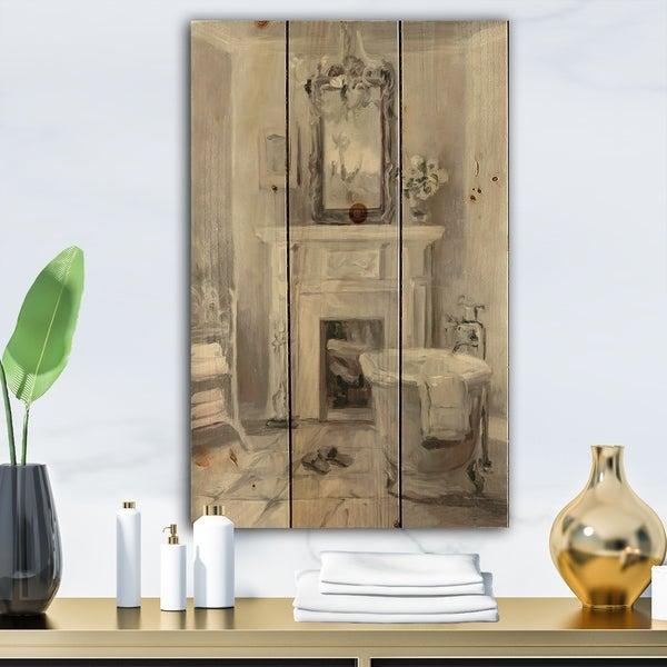 Designart 'French Bathroom Vintage I' Traditional Bathroom Print on Natural Pine Wood - Grey