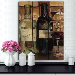 Designart 'A Reflection of Wine Bottle II' Food and Beverage Print on Natural Pine Wood - Black/Brown