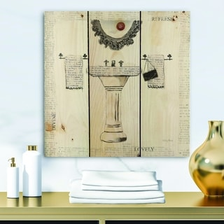 Designart 'Paris Hotel Bathroom V' Traditional Bathroom Print on Natural Pine Wood - Grey