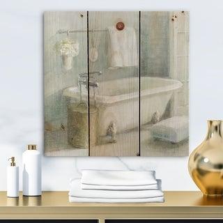 Designart 'Pastel Bath I' Bathroom Print on Natural Pine Wood - Grey