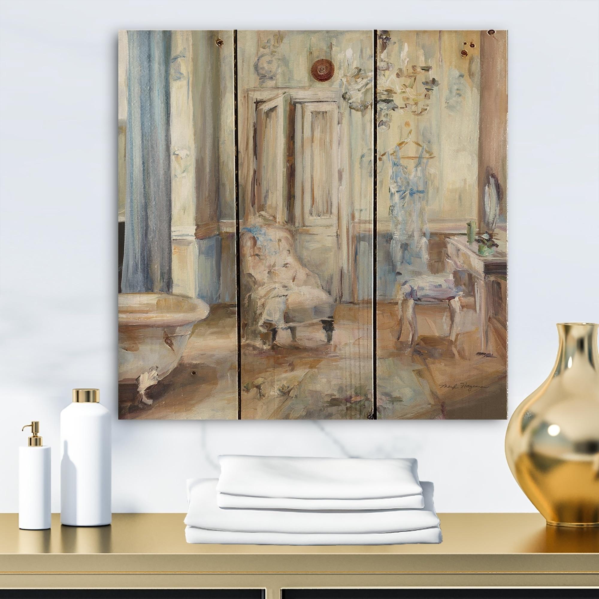 Designart French Boudoir Bath I Traditional Bathroom Print On Natural Pine Wood Blue