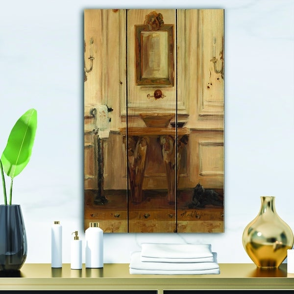Designart 'Vintage Paris Bathroom Painting ' Traditional Bathroom Print on Natural Pine Wood - Brown