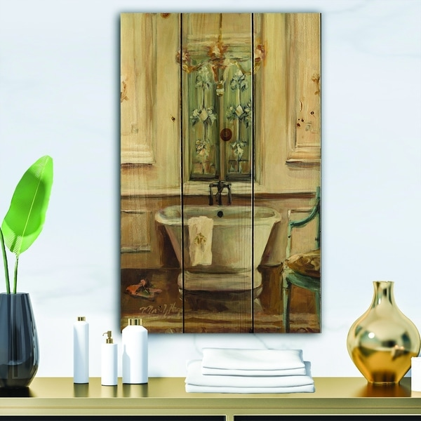 Designart 'Vintage Paris Bathtub Painting ' Traditional Bathroom Print on Natural Pine Wood - Blue