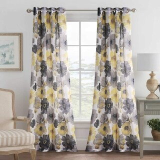 PrimeBeau Rustic Blooming Floral Linen Blended Curtains (Set of 2)