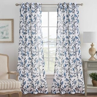 PrimeBeau Birds Pattern Linen-Blended Natural Grommet Curtains