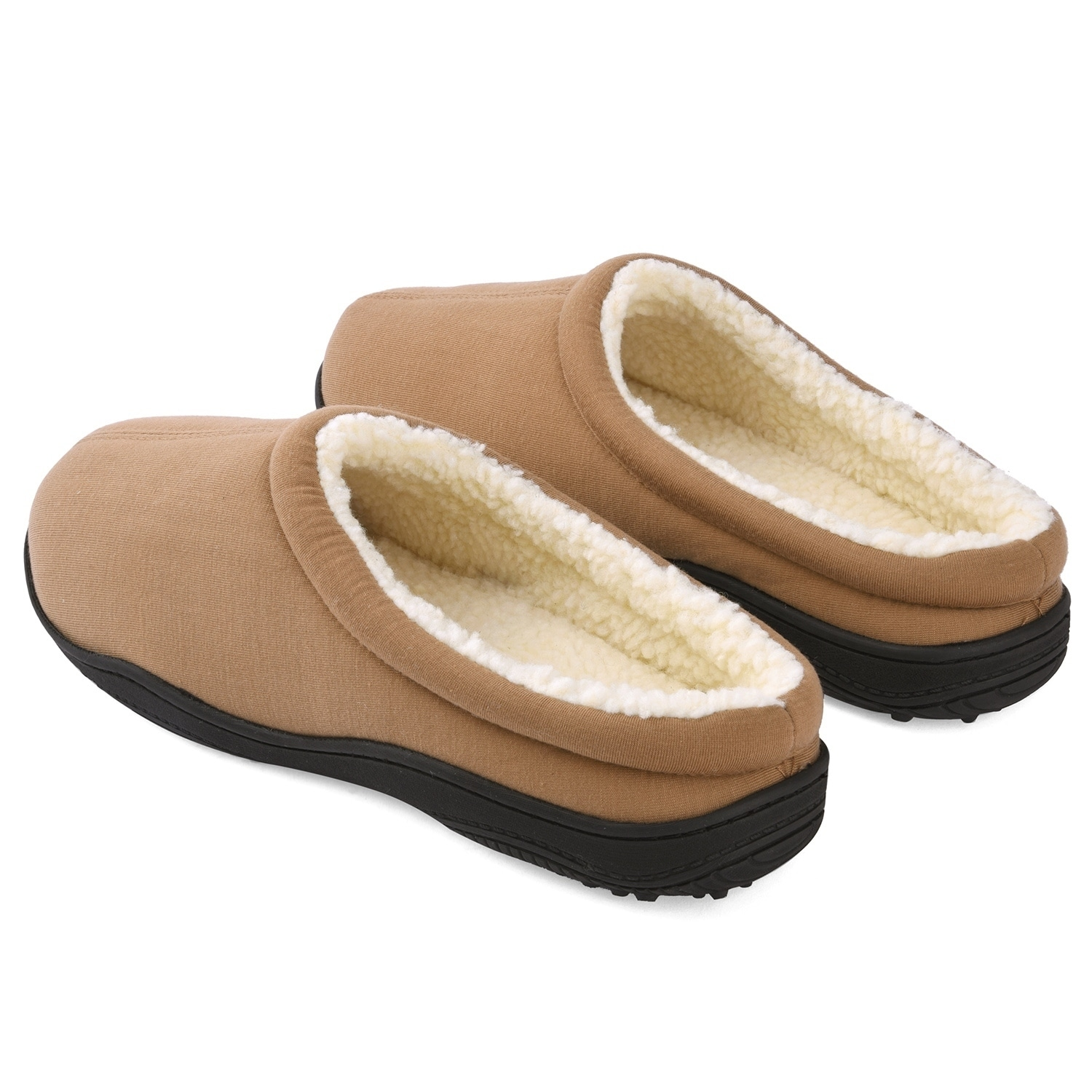 Medium, Black Sole Selection Clogs Shoes Fur Lined Slippers Winter Breathable Indoor Outdoor Walking Warm Non-Slip House Shoes for Men