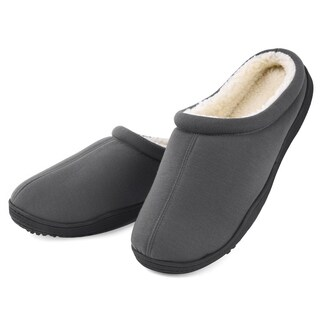 Men's Winter Warm Fleece Lined Memory Foam Slippers - Anti Skid Sole Indoor Outdoor House Shoes