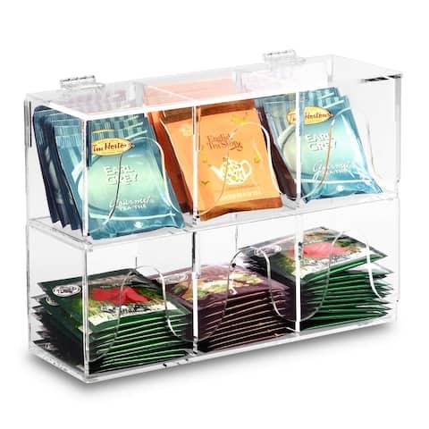 Ikee Design Acrylic Tea Bag Divided Box Holder Organizer, Clear