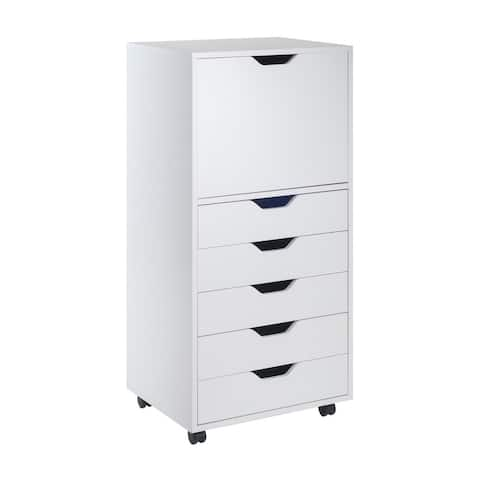 """Winsome 19.21""""W Halifax High Cabinet with 5 Gliding Drawers - White"""