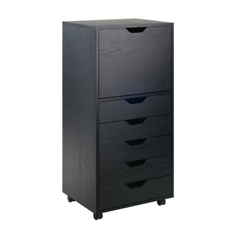 """Winsome 19.21""""W Halifax High Cabinet with 5 Gliding Drawers in Black Finish"""