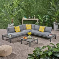 Eldon Outdoor V-Shaped Aluminum Sectional Sofa Set by Christopher Knight Home