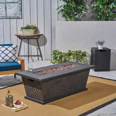 Meyer Outdoor Wicker/Concrete 56-inch 50,000 BTU Fire Pit by Christopher Knight Home