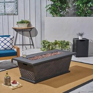 "Meyer Outdoor 56"" 50,000 BTU Rectangular Light Weight Concrete Fire Pit by Christopher Knight Home"