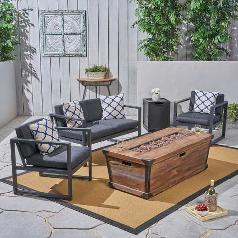 Barden Outdoor 3 Piece Aluminum Chat Set with Fire Pit by Christopher Knight Home