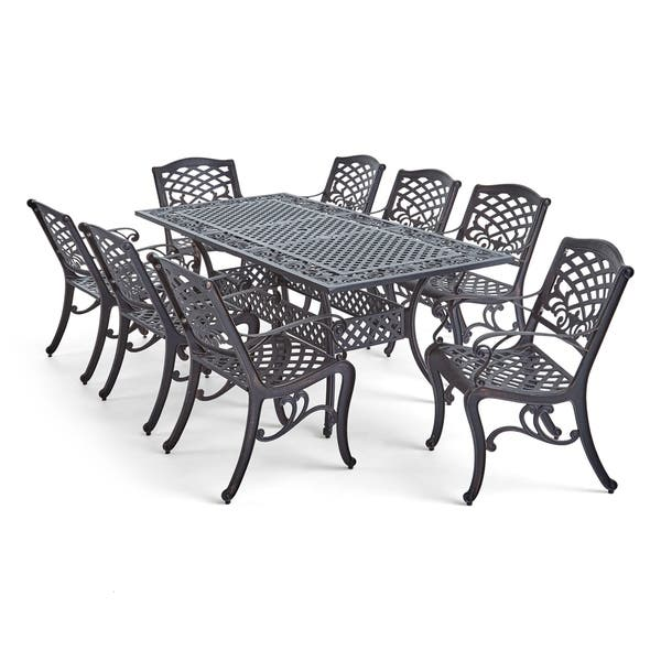 Phoenix Outdoor 8 Seat Aluminum Dining Set By Christopher Knight Home On Sale Overstock 25982282