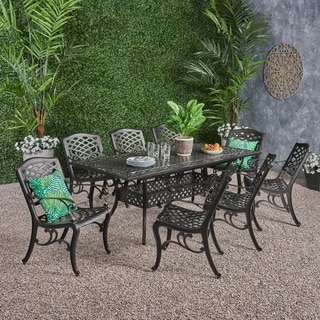 Phoenix Outdoor 8-Seater Cast Aluminum Dining Set with Expandable Table by Christopher Knight Home