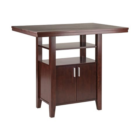 Albany High Table with Cabinet and Shelf in Walnut Finish