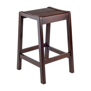 "Winsome 24"" Alicante Solid Wood Counter Stool in Walnut Finish"
