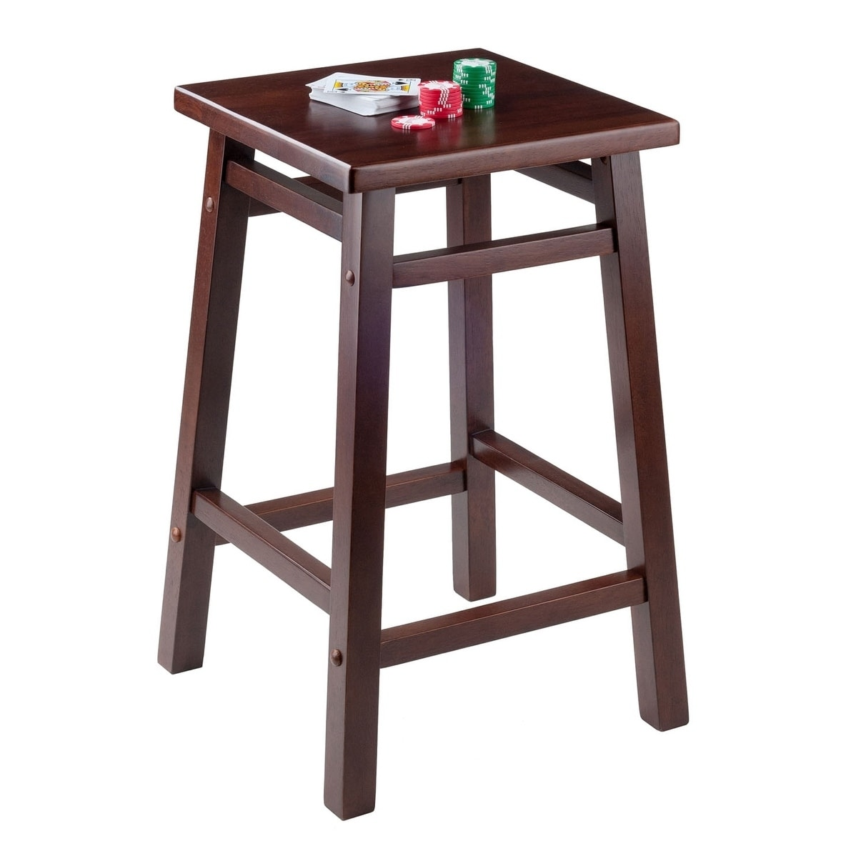 Winsome 24 Carter Solid Wood Counter Stool In Walnut Finish