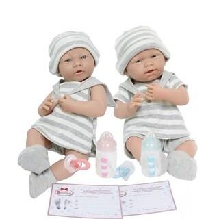 "Realistic 15"" Boy and Girl Twin Dolls with Grey Stripe Pajamas"