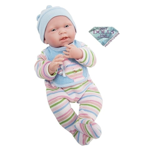 """Realistic 15"""" Anatomically Correct Real Girl Baby Doll All-Vinyl in multi-colored striped knitted pajama with bib"""