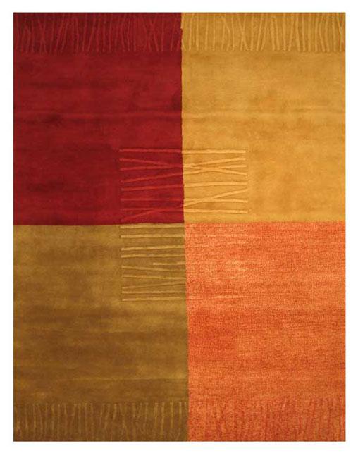 EORC Hand-tufted Wool Multi Red Dorado Rug (5' x 8')
